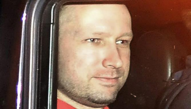 Anders Breivik, leaving the courts